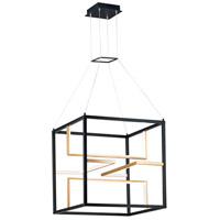 ET2 E21226-BKGLD Chamber LED 24 inch Black and Gold Single Pendant Ceiling Light