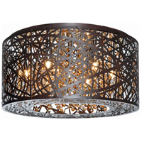 ET2 E21300-10BZ Inca 7 Light 16 inch Bronze Flush Mount Ceiling Light in Cognac, Without Bulb