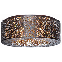 ET2 E21301-10BZ Inca 9 Light 24 inch Bronze Flush Mount Ceiling Light in Without Bulb, Clear/White