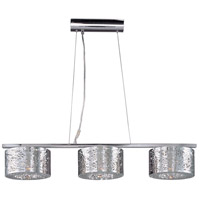 ET2 E21304-10PC Inca 3 Light 37 inch Polished Chrome Linear Pendant Ceiling Light in Without Bulb