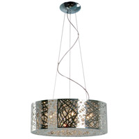 ET2 E21308-10PC Inca 9 Light 24 inch Polished Chrome Pendant Ceiling Light in Without Bulb, Clear/White