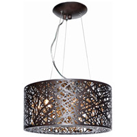 ET2 E21309-10BZ Inca 7 Light 16 inch Bronze Single Pendant Ceiling Light in Without Bulb, Clear/White