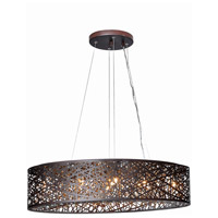 Inca 9 Light 32 inch Bronze Linear Pendant Ceiling Light in Without Bulb, Cognac