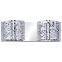 ET2 E21315-10PC Inca 2 Light 16 inch Polished Chrome Bath Light Wall Light in Without Bulb, Clear/White, 4.25 in.