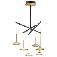 ET2 E21546-90BKGLD Saucer LED 29 inch Black and Gold Multi-Light Pendant Ceiling Light