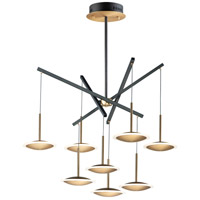 ET2 E21548-90BKGLD Saucer LED 36 inch Black and Gold Multi-Light Pendant Ceiling Light