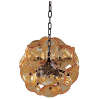 Fiori 8 Light 12 inch Bronze Pendant Ceiling Light in Amber Murano