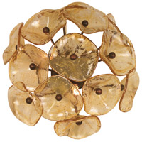 Fiori 3 Light 14 inch Bronze Wall Sconce Wall Light in Amber Murano