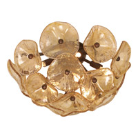 Fiori 8 Light 17 inch Bronze Flush Mount Ceiling Light in Amber Murano