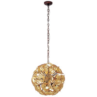 ET2 E22093-26 Fiori 12 Light 20 inch Bronze Pendant Ceiling Light in Amber Murano