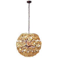 ET2 E22094-26 Fiori 20 Light 23 inch Bronze Pendant Ceiling Light in Amber Murano
