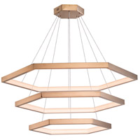 ET2 E22288-BCN Hex LED 34 inch Brushed Champagne Suspension Pendant Ceiling Light