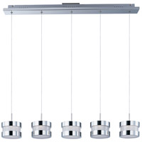 Disco 5 Light 39 inch Polished Chrome Linear Pendant Ceiling Light