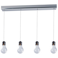 Edison 4 Light 28 inch Polished Chrome Linear Pendant Ceiling Light