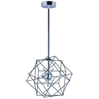 ET2 E22910-BKPC Rubic LED 21 inch Black and Polished Chrome Single Pendant Ceiling Light