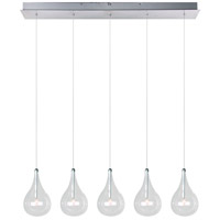 ET2 E23115-18 Larmes 5 Light 31 inch Polished Chrome Linear Pendant Ceiling Light