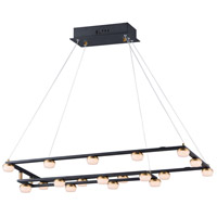 ET2 E23165-75BKGLD Button LED 16 inch Black and Gold Suspension Pendant Ceiling Light
