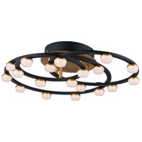 ET2 E23168-75BKGLD Button LED 23 inch Black and Gold Flush Mount Ceiling Light