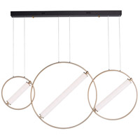 ET2 E23277-93BKSFTG Flare LED 5 inch Black and Soft Gold Linear Pendant Ceiling Light