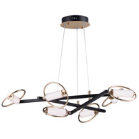 ET2 E23278-93BKSFTG Flare LED 36 inch Black and Soft Gold Suspension Pendant Ceiling Light