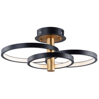 ET2 E24323-BKGLD Hoopla LED 16 inch Black and Gold Semi-Flush Mount Ceiling Light