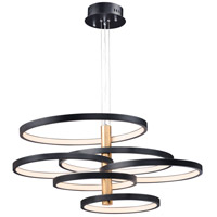 Hoopla LED 45 inch Black and Gold Multi-Light Pendant Ceiling Light
