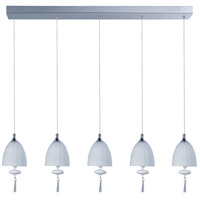ET2 E24355-11PC Chute 5 Light 34 inch Polished Chrome Linear Pendant Ceiling Light in Matte White