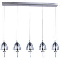 Chute 5 Light 34 inch Polished Chrome Linear Pendant Ceiling Light in Mirror Chrome