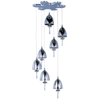 Chute 7 Light 15 inch Polished Chrome Pendant Ceiling Light in Mirror Chrome