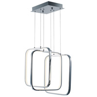 Squared LED 16 inch Polished Chrome Single Pendant Ceiling Light