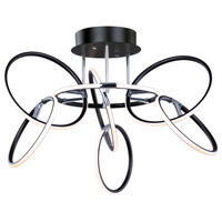 Ringer LED 32 inch Black and Polished Chrome Flush Mount Ceiling Light