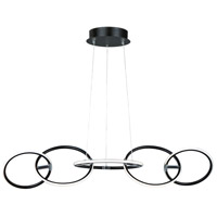 Ringer LED 43 inch Black and Polished Chrome Linear Pendant Ceiling Light
