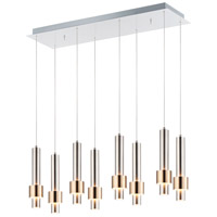 ET2 E24758-SNSBR Reveal 8 Light 10 inch Satin Nickel and Satin Brass Multi-Light Pendant Ceiling Light