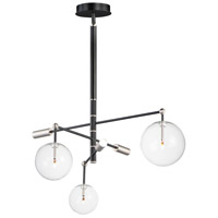 ET2 E25074-18BKSN Global LED 36 inch Black and Satin Nickel Multi-Light Pendant Ceiling Light