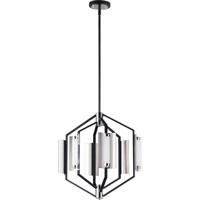 ET2 E25126-01BKPN Reflect 6 Light 18 inch Black and Polished Nickel Multi-Light Pendant Ceiling Light
