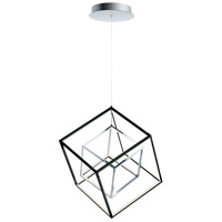 ET2 E30584-BKPC 4 Square LED 21 inch Black and Polished Chrome Single Pendant Ceiling Light