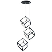 ET2 E30587-BK 4 Square LED 12 inch Black Multi-Light Pendant Ceiling Light