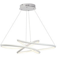 Twisted LED 26 inch Matte White Single Pendant Ceiling Light