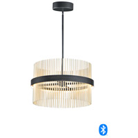 ET2 E34205-BKSBR Chimes 2 Light 24 inch Black and Satin Brass Single Pendant Ceiling Light