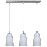 Carte 3 Light 25 inch Satin Nickel Linear Pendant Ceiling Light in White Ripple