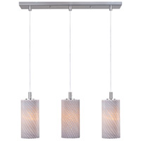 Carte 3 Light 25 inch Satin Nickel Linear Pendant Ceiling Light in Grey Ripple