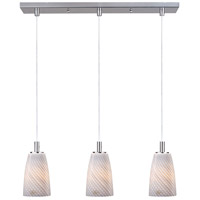 ET2 Carte 3 Light Linear Pendant in Satin Nickel E92043-39SN