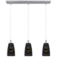 Carte 3 Light 25 inch Satin Nickel Linear Pendant Ceiling Light in Black Amber Swirl