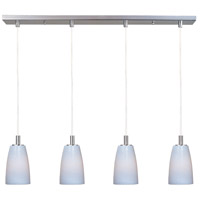 Carte 4 Light 33 inch Satin Nickel Linear Pendant Ceiling Light in White Ripple