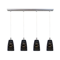 Carte 4 Light 33 inch Satin Nickel Linear Pendant Ceiling Light in Black Amber Swirl