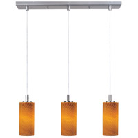 Carte 3 Light 25 inch Satin Nickel Linear Pendant Ceiling Light in Amber Ripple