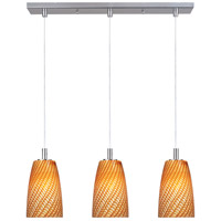 ET2 Carte 3 Light Linear Pendant in Satin Nickel E93143-14