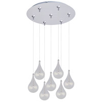 Larmes 7 Light 17 inch Satin Nickel Multi-Light Pendant Ceiling Light