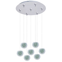 ET2 E93720-94AL Clipp 7 Light 17 inch Brushed Aluminum Multi-Light Pendant Ceiling Light in Cognac, Green