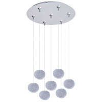 Clipp 7 Light 17 inch Brushed Aluminum Multi-Light Pendant Ceiling Light in White